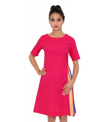 Solid Pink Color  Round Neck One Piece For Women