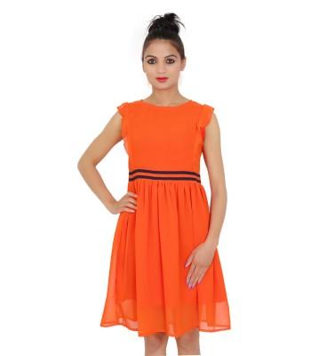 Plain Georgette Women's Sleeveless Orange Dress
