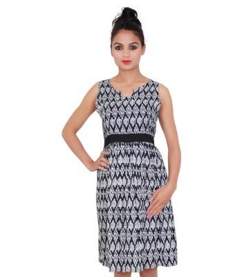 Printed Black Color Sleevless Dress for Women