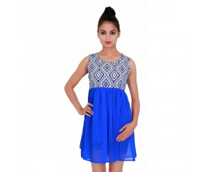 Printed Royal Blue sleevless Casual Wear Women's Dress
