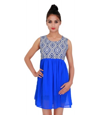 Printed Royal Blue sleevless Casual Wear Women's Dress