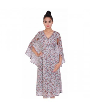 Floral Print Grey Color Chiffon Dress for Women