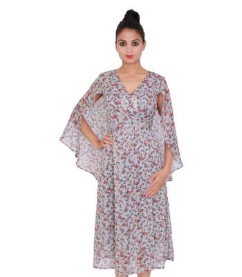 Floral Print Grey Color Chiffon Dress for Women