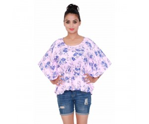 Flower Printed Baby Pink Women's Top