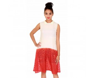 Casual Plain Sleevless Women's Net Ivory Dress