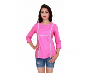 Pink Color with Round Neck Cotton Women's Top