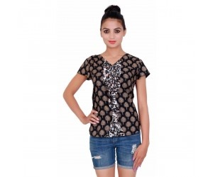 Printed Black Rayon Women's Top with V-Neck