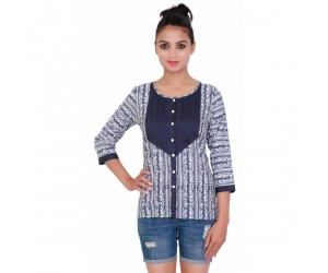 Printed Navy Blue Round Neck Women Top