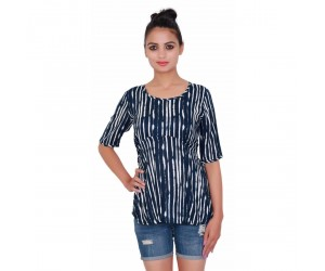 Navy Blue Printed Sleevless Women's Top With Round Neck