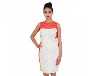 Ivory Color Round Neck Casual Wear Women's Dress