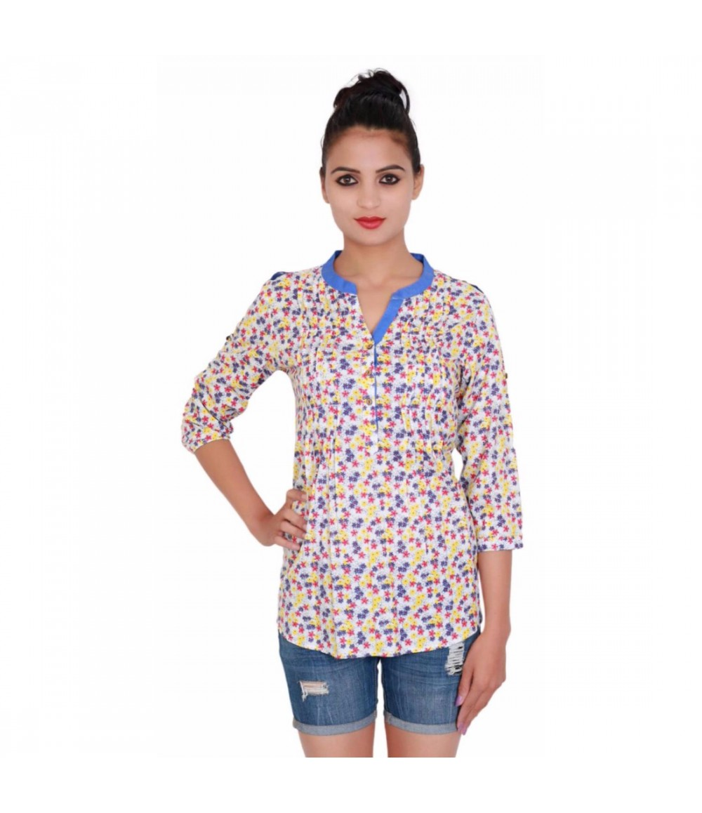 Printed Off White Cotton Women's Top