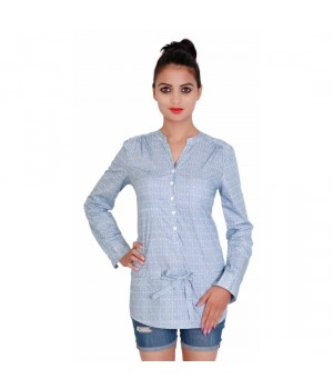 Formal Printed Sky Color Cotton Tunic For Women