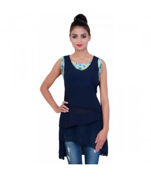 Navy Blue Georgette Round Neck Tunic For Women