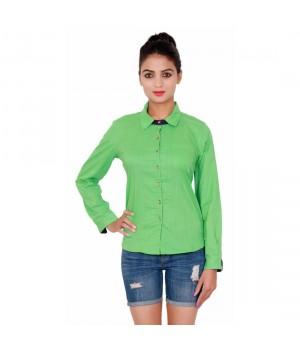 Full Sleeves Cotton Green Shirt For Women