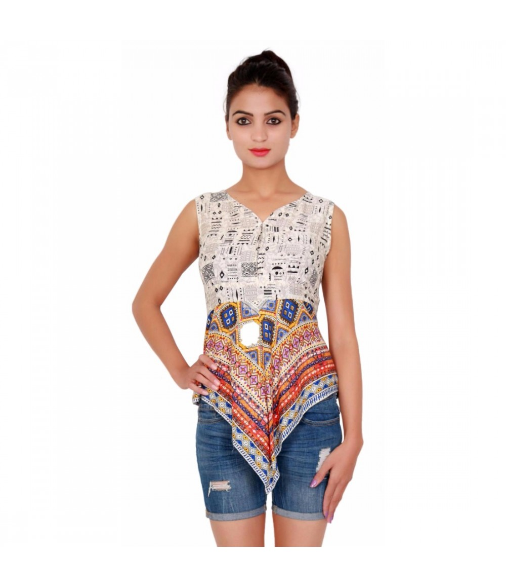 Printed Off White Sleevless Top For Women With Sweetheart Neck