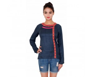 Navy Blue Round Neck Full Sleeves Top for Women