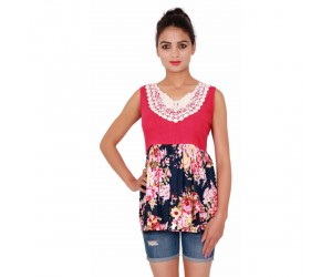 Printed Pink,Blue Sleevless Top With V-Neck