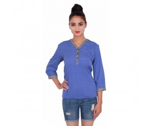 Printed Shirt Style Blue Top With V-Neck