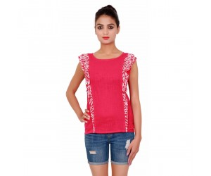 Cotton Sleevless Plain Dyed Casual Women's Pink Top