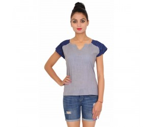 Cotton Plain Dyed Casual Women's Grey Top