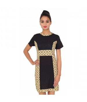 Cotton Half Sleevless Printed Women's Black Dress