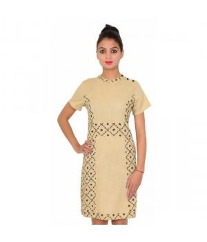 Cotton Half Sleevless Printed Women's Beige Dress