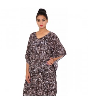 Cotton Printed Dark Brown Women's Kaftaan Dress