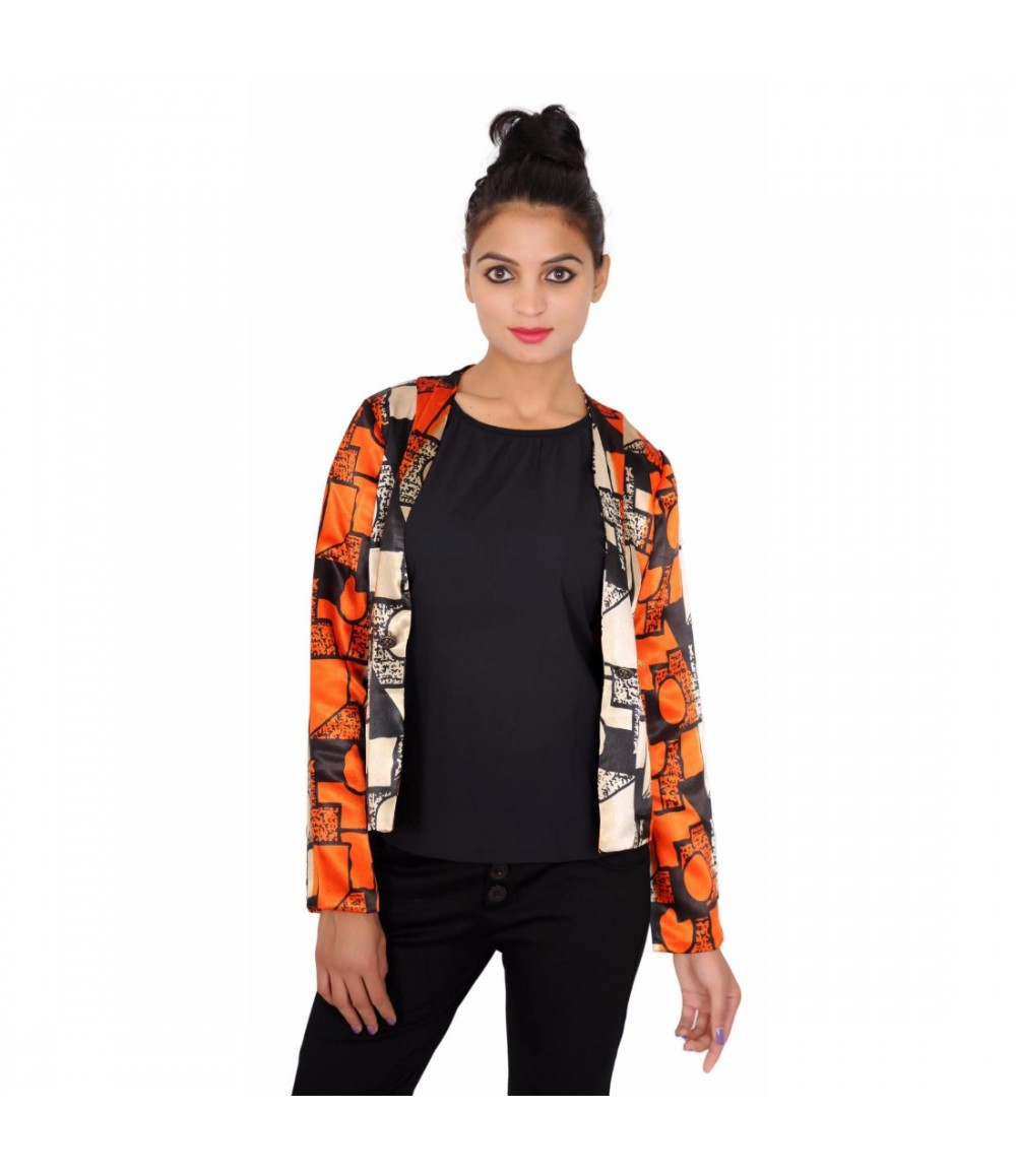 Satin Printed  Casual Women's Orange Jacket