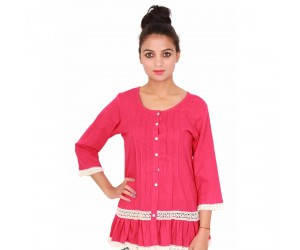 Cotton Plain Dyed Round Neck Casual Women's Pink Top