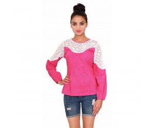 Cotton Printed Casual Women's Pink Top