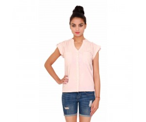Casual Crap Plain Dyed Women's Peach Top