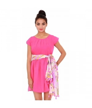 Casual Georgette Plain Dyed Women's Pink Dress