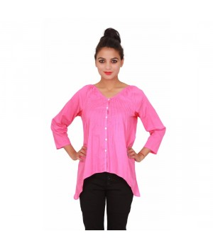 Casual Cotton Plain Dyed V Neck Women's Pink Top
