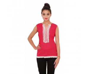 Casual Sleevless Cotton Plain Dyed Women's Pink Top