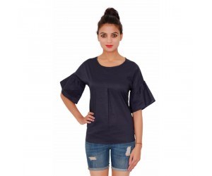 Casual Cotton Plain Dyed Women's Navy Blue Top