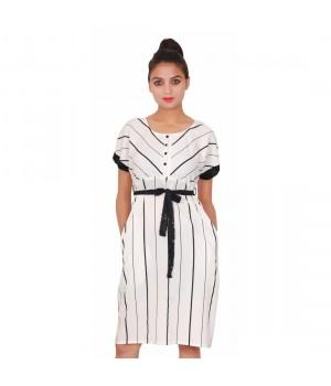 Casual White Round Neck women's Striped Dress