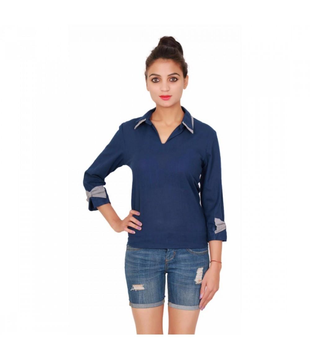 Cotton Plain Dyed Blue Women's Navy Blue Shirt