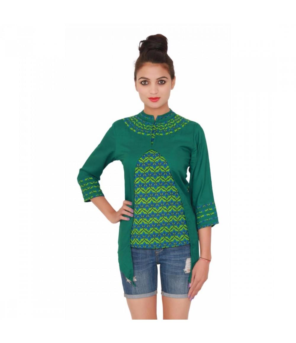Cotton Printed Women's Green Top