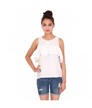 Women Sleeveless White Plain Short Top