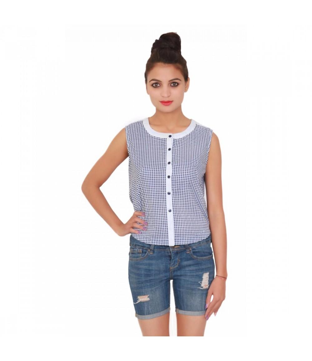 Cotton Sleevless White Round Neck Women's Checks-Print Top
