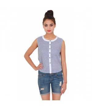 Cotton Sleevless White Round Neck Women's Checks-Print Top
