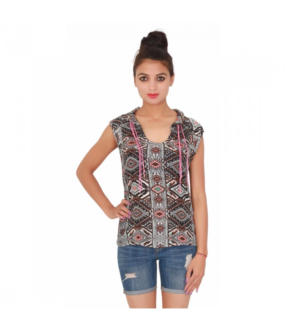 Cotton Sleevless Frill Neck Printed Women's Brown Top