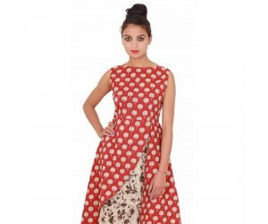 Casual Sleevless Printed Women's Red Maxi-Dress