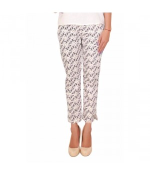 Off-White Printed Women Cotton Cambric Trouser