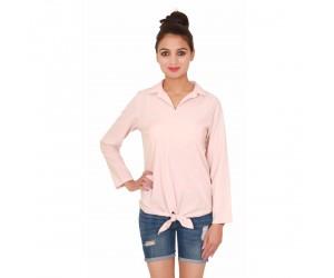 Plain Women Short Peach Full Sleeves Top