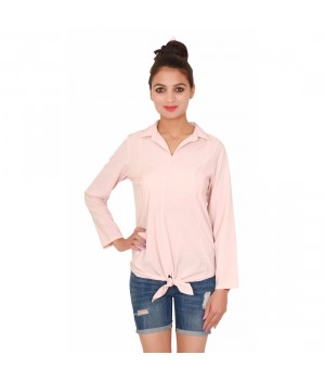 Plain Women Short Peach Full Sleeves Top