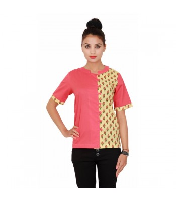 Women Peach & Yellow Plain Printed Top