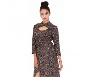 Women Black Printed 3/4th Sleeves Evening Dress