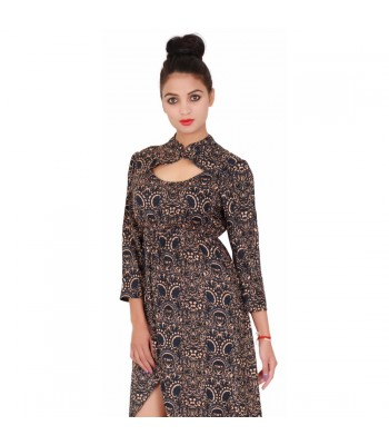 Women Black Printed 3/4th Sleeves Evening Dress