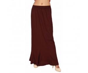 Women Dark Brown Rayon Long Skirt